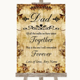 Autumn Vintage Dad Walk Down The Aisle Customised Wedding Sign
