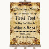 Autumn Vintage Dancing Shoes Flip-Flop Tired Feet Customised Wedding Sign