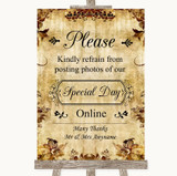 Autumn Vintage Don't Post Photos Online Social Media Customised Wedding Sign