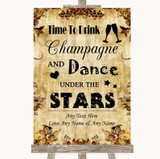 Autumn Vintage Drink Champagne Dance Stars Customised Wedding Sign