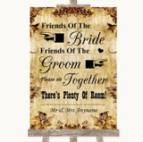 Autumn Vintage Friends Of The Bride Groom Seating Customised Wedding Sign
