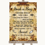 Autumn Vintage Grab A Bag Candy Buffet Cart Sweets Customised Wedding Sign