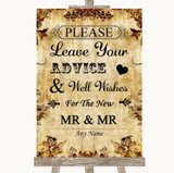 Autumn Vintage Guestbook Advice & Wishes Gay Customised Wedding Sign