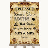Autumn Vintage Guestbook Advice & Wishes Lesbian Customised Wedding Sign