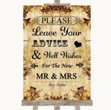 Autumn Vintage Guestbook Advice & Wishes Mr & Mrs Customised Wedding Sign