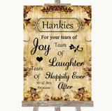 Autumn Vintage Hankies And Tissues Customised Wedding Sign