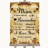 Autumn Vintage I Love You Message For Mum Customised Wedding Sign