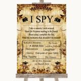 Autumn Vintage I Spy Disposable Camera Customised Wedding Sign