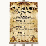 Autumn Vintage Important Special Dates Customised Wedding Sign