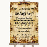 Autumn Vintage Instagram Photo Sharing Customised Wedding Sign