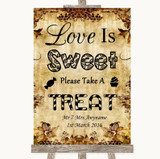Autumn Vintage Love Is Sweet Take A Treat Candy Buffet Customised Wedding Sign
