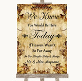 Autumn Vintage Loved Ones In Heaven Customised Wedding Sign