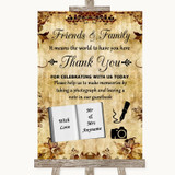 Autumn Vintage Photo Guestbook Friends & Family Customised Wedding Sign