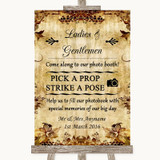 Autumn Vintage Pick A Prop Photobooth Customised Wedding Sign