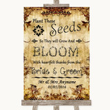 Autumn Vintage Plant Seeds Favours Customised Wedding Sign