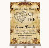 Autumn Vintage Puzzle Piece Guest Book Customised Wedding Sign