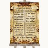 Autumn Vintage Romantic Vows Customised Wedding Sign