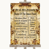 Autumn Vintage Rules Of The Dancefloor Customised Wedding Sign