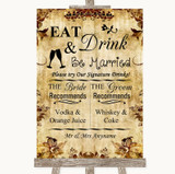 Autumn Vintage Signature Favourite Drinks Customised Wedding Sign