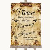Autumn Vintage Signing Frame Guestbook Customised Wedding Sign