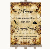 Autumn Vintage Take A Moment To Sign Our Guest Book Customised Wedding Sign