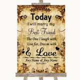 Autumn Vintage Today I Marry My Best Friend Customised Wedding Sign