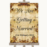 Autumn Vintage We Are Getting Married Customised Wedding Sign