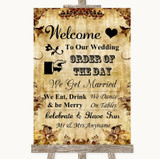 Autumn Vintage Welcome Order Of The Day Customised Wedding Sign