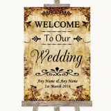 Autumn Vintage Welcome To Our Wedding Customised Wedding Sign