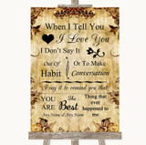 Autumn Vintage When I Tell You I Love You Customised Wedding Sign