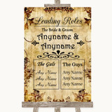 Autumn Vintage Who's Who Leading Roles Customised Wedding Sign