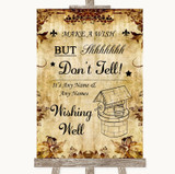 Autumn Vintage Wishing Well Message Customised Wedding Sign