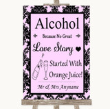Baby Pink Damask Alcohol Bar Love Story Customised Wedding Sign