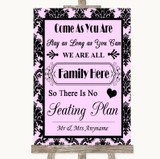 Baby Pink Damask All Family No Seating Plan Customised Wedding Sign
