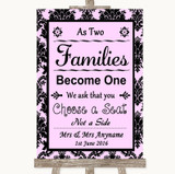 Baby Pink Damask As Families Become One Seating Plan Customised Wedding Sign