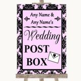 Baby Pink Damask Card Post Box Customised Wedding Sign