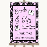 Baby Pink Damask Cards & Gifts Table Customised Wedding Sign