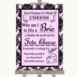 Baby Pink Damask Cheese Board Song Customised Wedding Sign