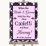 Baby Pink Damask Confetti Customised Wedding Sign
