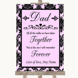 Baby Pink Damask Dad Walk Down The Aisle Customised Wedding Sign