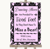 Baby Pink Damask Dancing Shoes Flip-Flop Tired Feet Customised Wedding Sign