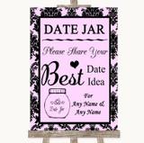 Baby Pink Damask Date Jar Guestbook Customised Wedding Sign