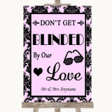 Baby Pink Damask Don't Be Blinded Sunglasses Customised Wedding Sign