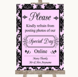Baby Pink Damask Don't Post Photos Online Social Media Customised Wedding Sign
