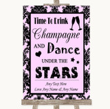 Baby Pink Damask Drink Champagne Dance Stars Customised Wedding Sign