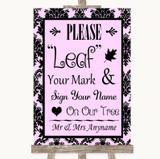 Baby Pink Damask Fingerprint Tree Instructions Customised Wedding Sign