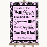 Baby Pink Damask Friends Of The Bride Groom Seating Customised Wedding Sign
