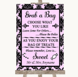 Baby Pink Damask Grab A Bag Candy Buffet Cart Sweets Customised Wedding Sign