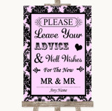 Baby Pink Damask Guestbook Advice & Wishes Gay Customised Wedding Sign
