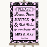 Baby Pink Damask Guestbook Advice & Wishes Lesbian Customised Wedding Sign